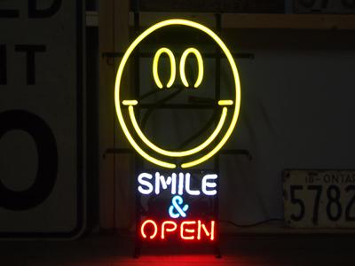 【サイズを選べるネオン管】 SMILE & OPEN スマイル&オープン 電飾 電光掲示板 照明 インテリア 看板 アメリカン雑貨 ネオンサイン ネオン管