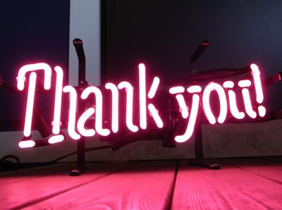 【サイズを選べるネオン管】ネオンサイン THANK YOU サンキュー(電飾 電光掲示板 照明 インテリア 看板 アメリカン雑貨)