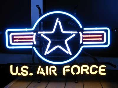 【サイズを選べるネオン管】 U.S.AIR FORCE 2 アメリカ空軍 電飾 電光掲示板 照明 インテリア 看板 アメリカン雑貨 ネオンサイン ネオン管