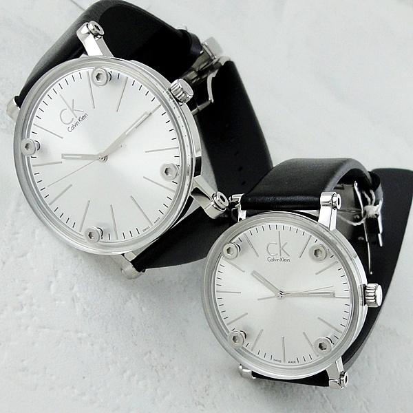 ペア腕時計 ボックス付き カルバンクライン 腕時計 ペアウォッチ コージェント ブラックレザー 革ベルト K3B2T1C6K3B231C6 ビジネス 男女 ペアセット カップル ブランド 時計 誕生日 お祝い プレゼント ギフト お洒落