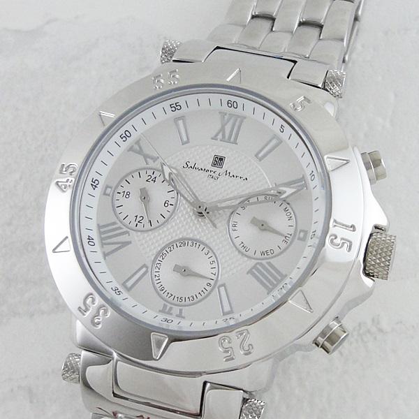 【キャッシュレス5%還元】国内正規品 サルバトーレマーラ 時計 メンズ 腕時計 シルバー SM14118-SSWH ビジネス 男性 ブランド 時計 誕生日 お祝い プレゼント ギフト