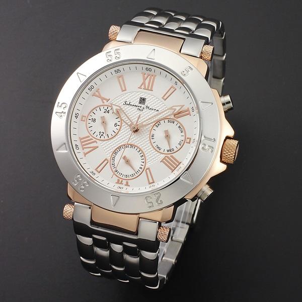 国内正規品 サルバトーレマーラ 時計 メンズ 腕時計 ホワイト ピンクゴールド デイデイト SM14118-PGWH ビジネス 男性 ブランド 時計 誕生日 お祝い プレゼント ギフト