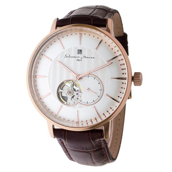 国内正規品 サルバトーレマーラ 時計 メンズ 腕時計 ブラウン クロコ レザー ホワイト文字盤 自動巻き SM17114-PGWH ビジネス 男性 ブランド 時計 誕生日 お祝い プレゼント ギフト お洒落