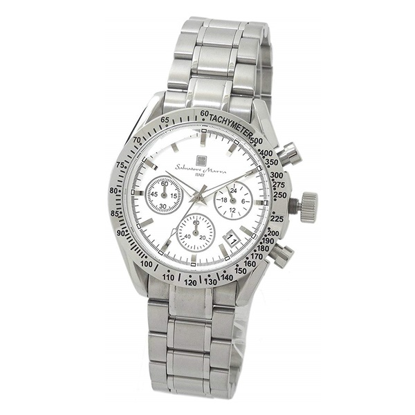 国内正規品 サルバトーレマーラ 時計 メンズ 腕時計 シルバー ホワイト クロノグラフ デイデイト SM12135-SSWHSV ビジネス 男性 ブランド 時計 誕生日 お祝い プレゼント ギフト お洒落