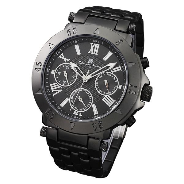 国内正規品 サルバトーレマーラ 時計 メンズ 腕時計 ブラック ホワイト デイデイト SM14118-IPBK ビジネス 男性 ブランド 時計 誕生日 お祝い プレゼント ギフト