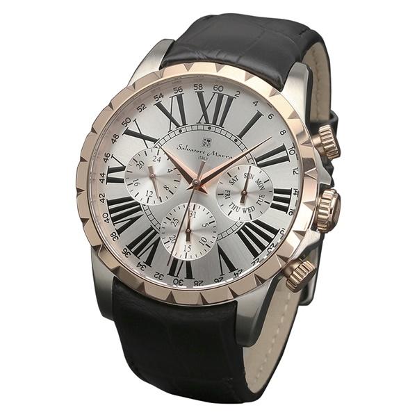 【キャッシュレス5%還元】国内正規品 サルバトーレマーラ 時計 メンズ 腕時計 ブラック ピンクゴールド シルバー デイデイト SM15103-PGSV ビジネス 男性 ブランド 時計 誕生日 お祝い プレゼント ギフト