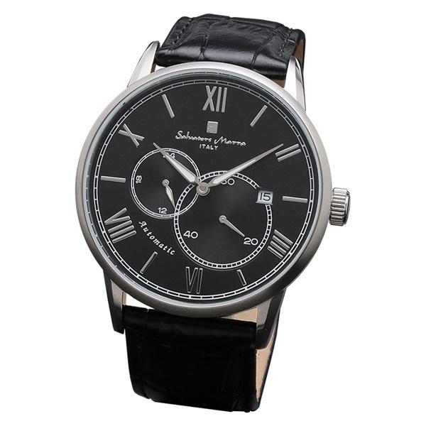 国内正規品 サルバトーレマーラ 時計 メンズ 腕時計 シルバーケース ブラック レザー オートマチック 機械式 自動巻き SM18104-SSBK ビジネス 男性 ブランド 時計 誕生日 お祝い プレゼント ギフト お洒落