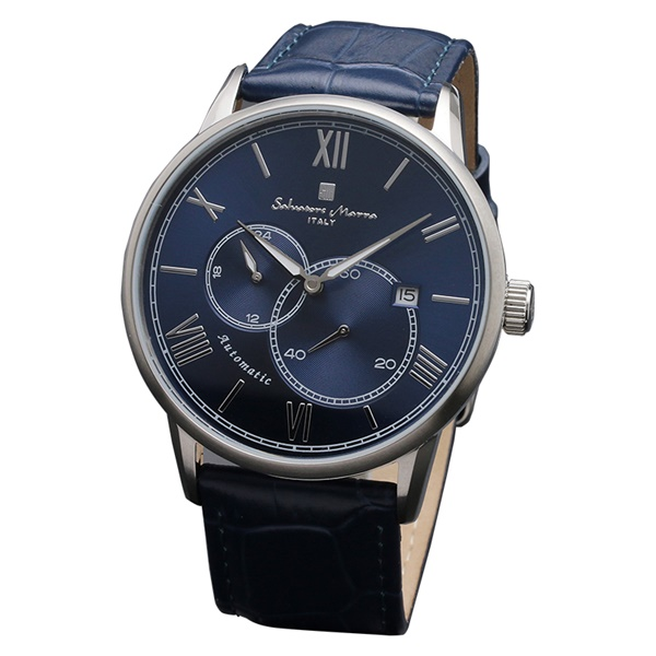 国内正規品 サルバトーレマーラ 時計 メンズ 腕時計 シルバーケース ブルー レザー オートマチック 機械式 自動巻き SM18104-SSBL ビジネス 男性 ブランド 時計 誕生日 お祝い プレゼント ギフト お洒落