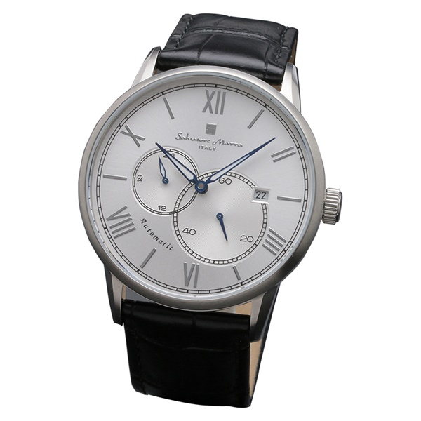 国内正規品 サルバトーレマーラ 時計 メンズ 腕時計 シルバーケース ブラック レザー オートマチック 機械式 自動巻き SM18104-SSSV ビジネス 男性 ブランド 時計 誕生日 お祝い プレゼント ギフト お洒落