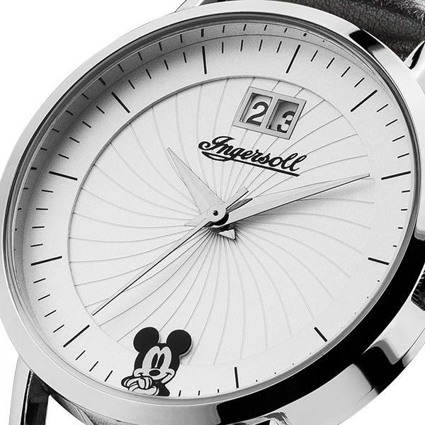 INGERSOLL インガソール Disney ディズニー ミッキー レディース かわいい キャラクターウォッチ シルバー ブラック レザー ID00501  ビジネス 女性 ブランド 時計 誕生日 お祝い プレゼント ギフト お洒落