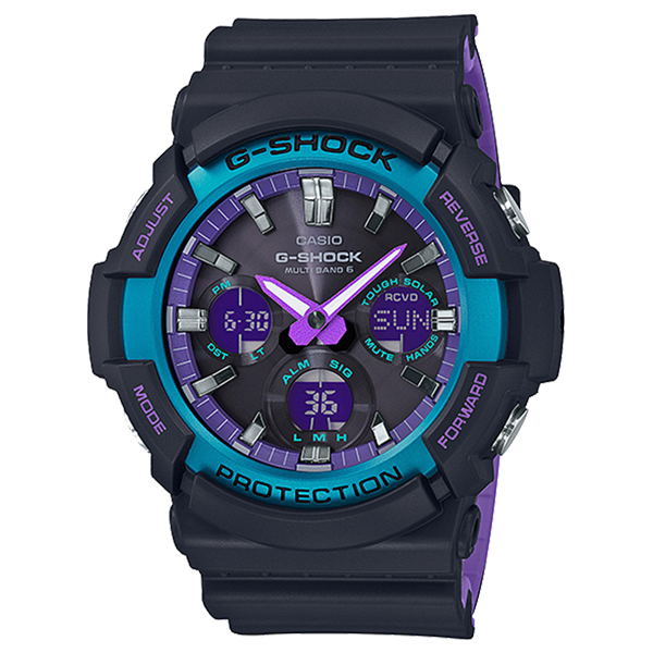 CASIO G-SHOCK Gショック ジーショック カシオ 腕時計 アナデジ デジタル&アナログ 多機能 電波 ソーラー ブラック×パープル 海外モデル GAW-100BL-1A ビジネス ブランド 誕生日 お祝い プレゼント ギフト