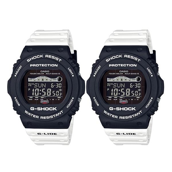 Gショックペアウォッチ 腕時計 G-LIDE サーフィン 波の満ち引き 電波ソーラー 太陽電池 電波受信 マリンスポーツ プール 同モデルペア GWX-5700SSN-1GWX-5700SSN-1 ブランド 同じデザインがうれしい 思い出 ペアセット 誕生日 お祝い プレゼント