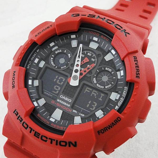 国内正規品 カシオ Gショック 時計 メンズ 腕時計 アナログデジタル レッド GA-100B-4AJF ビジネス 男性 ブランド 誕生日 お祝い プレゼント ギフト お洒落