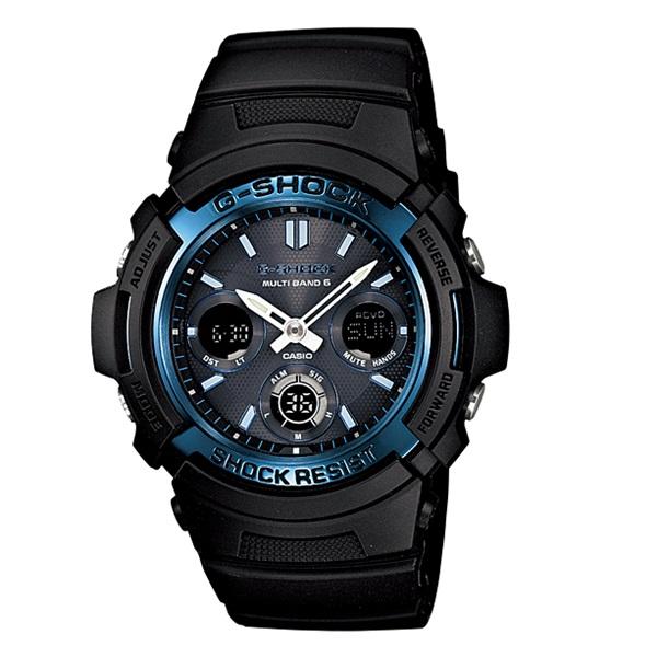 カシオ 時計 電波ソーラー Gショック 腕時計 メンズ タフソーラー デジアナ ブラック ブルー AWG-M100A-1AER ビジネス 男性 ブランド 誕生日 お祝い プレゼント ギフト お洒落