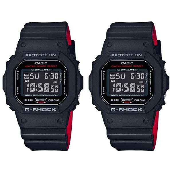 人気モデル! スポーツ・アウトドアにも最適! カシオ 時計 ペアウォッチ シェア 腕時計 Gショック G-SHOCK デジタル 多機能 ブラック レッド DW-5600HR-1DW-5600HR-1 ブランド 男女 カップル ペアセット 誕生日 お祝い プレゼント ギフト お洒落