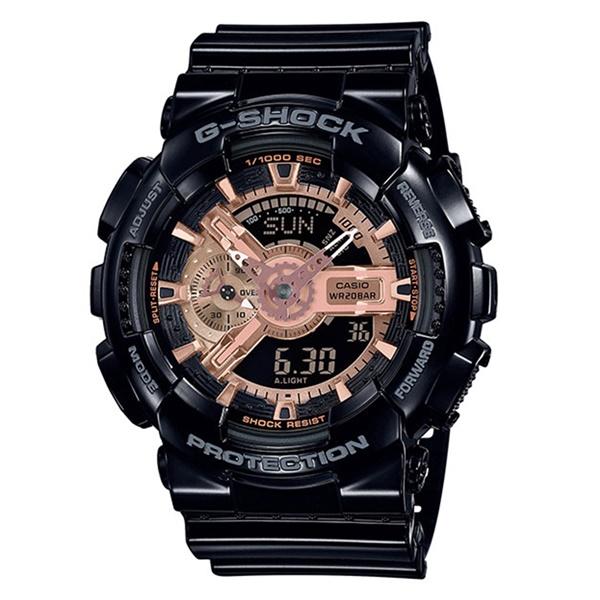 【安心の国内正規品】カシオ Gショック ジーショック メンズ 腕時計 防水 多機能 アナログデジタル ブラック×ローズゴールド GA-110MMC-1AJF ビジネス 男性 ブランド 誕生日 お祝い プレゼント ギフト お洒落