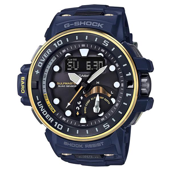 CASIO G-SHOCK Gショック ジーショック カシオ メンズ 腕時計 アナデジ 電波ソーラー ゴールド×ネイビーブルー 海外モデル GWN-Q1000NV-2A ビジネス 男性 ブランド 誕生日 お祝い プレゼント ギフト お洒落