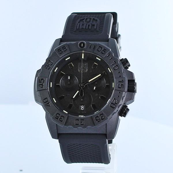 ルミノックス 時計 メンズ 腕時計 NAVY SEAL ネイビーシールズ クロノグラフ 3580シリーズ 20気圧防水 オールブラック ラバー 3581.BO ビジネス 男性 ブランド 誕生日 お祝い プレゼント ギフト