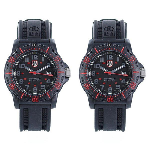 ルミノックス シェア ペアウォッチ 腕時計 NAVY SEAL ネイビーシールズ 20周年アニバーサリー 200m防水 レッド ブラック ラバー 2本セット お揃い XL.8815XL.8815 ビジネス 男女 ペアセット カップル ブランド 誕生日 お祝い プレゼント ギフト お洒落