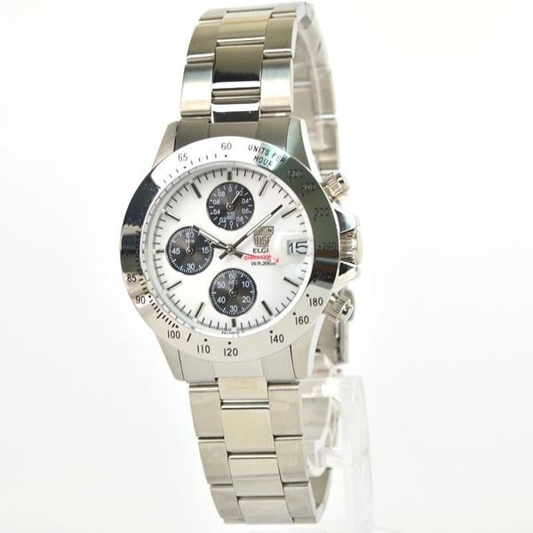 国内正規品 エルジン 時計 メンズ 腕時計 クロノグラフ ダイバー ホワイト文字盤 ステンレス FK1184S-W ビジネス 男性 ブランド 時計 誕生日 お祝い プレゼント ギフト お洒落