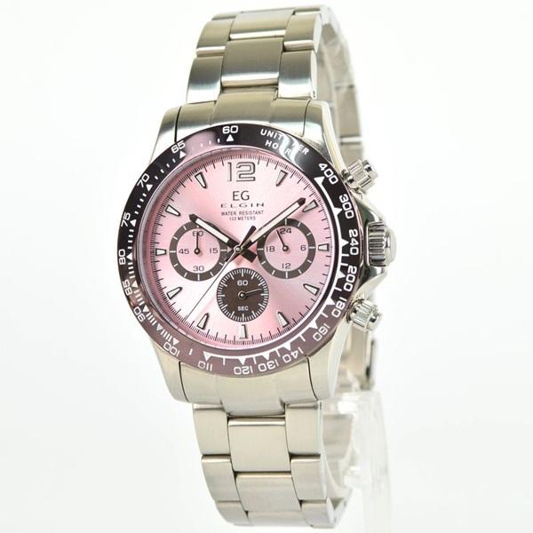 国内正規品 エルジン 時計 メンズ 腕時計 クロノグラフ ピンク文字盤 ステンレス EG-002-P ビジネス 男性 ブランド 時計 誕生日 お祝い プレゼント ギフト お洒落