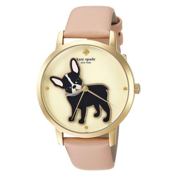 ケイトスペード 時計 レディース 腕時計 METRO メトロ ゴールドケース フレンチブルドック 犬 ベージュ レザー KSW1345 ビジネス 女性 ブランド 時計 誕生日 お祝い プレゼント ギフト お洒落