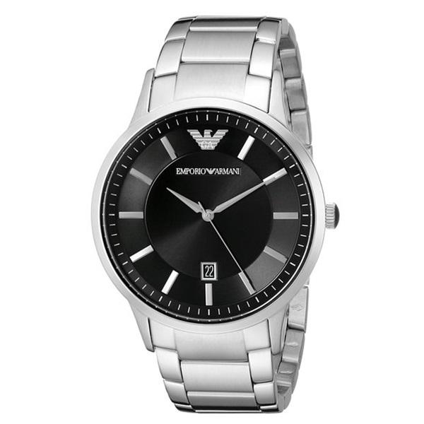 エンポリオアルマーニ 時計 メンズ 腕時計 ブラック文字盤 シルバー AR2457 ビジネス 男性 ブランド 時計 誕生日 お祝い プレゼント ギフト