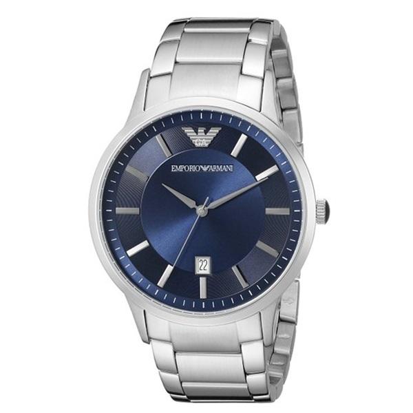 エンポリオアルマーニ 時計 メンズ 腕時計 ネイビー文字盤 シルバー AR2477 ビジネス 男性 ブランド 時計 誕生日 お祝い プレゼント ギフト お洒落