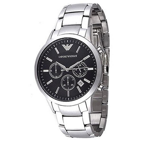 エンポリオアルマーニ 時計 メンズ 腕時計 クロノグラフ ブラック文字盤 シルバー 44mm AR2434 ビジネス 男性 ブランド 時計 誕生日 お祝い プレゼント ギフト お洒落