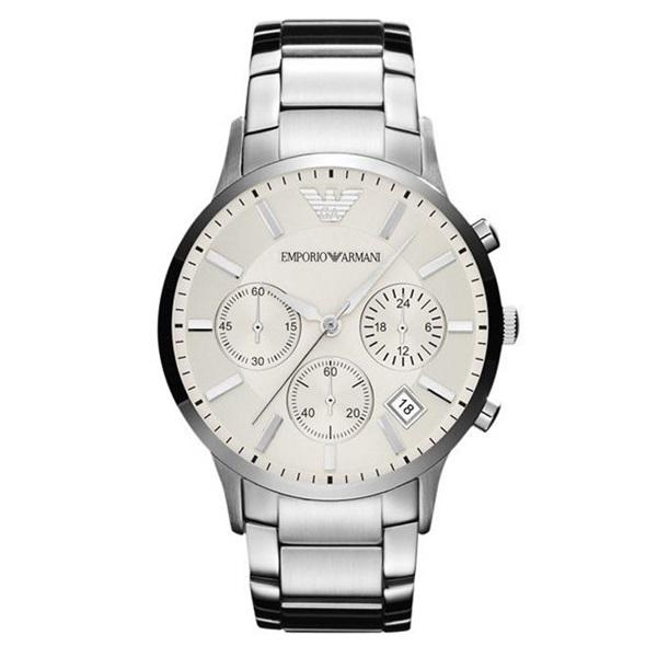 エンポリオアルマーニ 時計 メンズ 腕時計 クロノグラフ アイボリー文字盤 シルバー AR2458 ビジネス 男性 ブランド 時計 誕生日 お祝い プレゼント ギフト お洒落