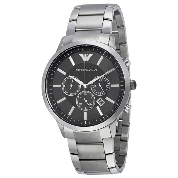 エンポリオアルマーニ 時計 メンズ 腕時計 クロノグラフ ブラック文字盤 シルバー 47mm AR2460 ビジネス 男性 ブランド 時計 誕生日 お祝い プレゼント ギフト お洒落
