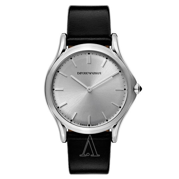 エンポリオアルマーニ 時計 レディース 腕時計 スイスメイド CLASSIC クラシック 36mm シルバー文字盤 ブラック レザー ARS2002 ビジネス 女性 ブランド 時計 誕生日 お祝い プレゼント ギフト お洒落