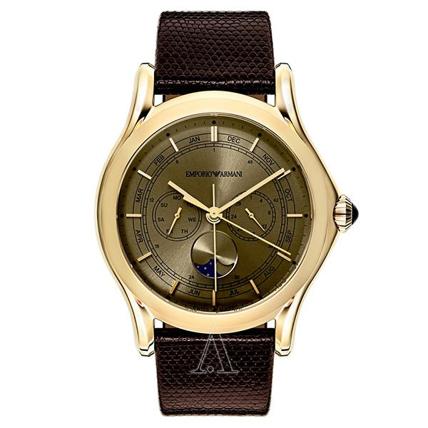 エンポリオアルマーニ 時計 メンズ 腕時計 スイスメイド CLASSIC クラシック 44mm ブロンズ文字盤 ブラウン リザード レザー ARS4203 ビジネス 男性 ブランド 時計 誕生日 お祝い プレゼント ギフト お洒落