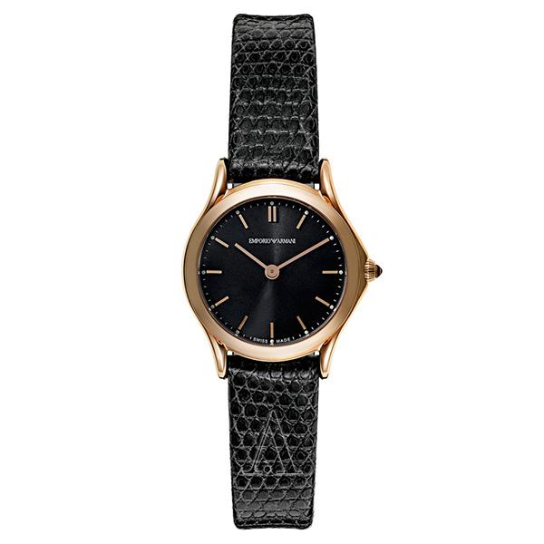 エンポリオアルマーニ 時計 レディース 腕時計 スイスメイド CLASSIC クラシック 24mm ローズゴールドケース ブラック リザード レザー ARS7201 ビジネス 女性 ブランド 時計 誕生日 お祝い プレゼント ギフト お洒落