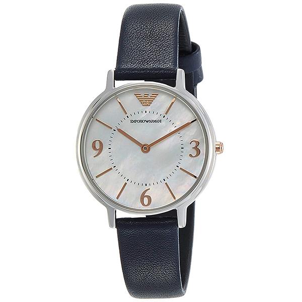 エンポリオアルマーニ 時計 レディース 腕時計 32mm シェル文字盤 シルバーケース ダークネイビー レザー AR2509 ビジネス 女性 ブランド 時計 誕生日 お祝い プレゼント ギフト お洒落