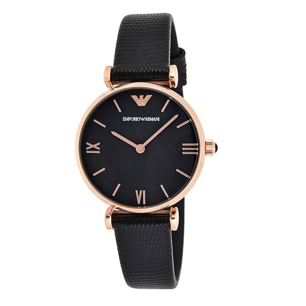 エンポリオアルマーニ 時計 レディース 腕時計 GIANNI T-BAR ジアンニティーバー 32mm シェル文字盤 ローズゴールドケース ブラック レザー AR11060 ビジネス 女性 ブランド 時計 誕生日 お祝い プレゼント ギフト