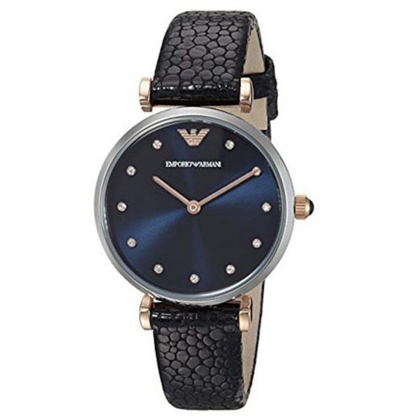 エンポリオアルマーニ 時計 レディース 腕時計 GIANNI T-BAR ジアンニティーバー 32mm シルバーケース ダークネイビー レザー クリスタル AR1989 ビジネス 女性 ブランド 時計 誕生日 お祝い プレゼント ギフト お洒落