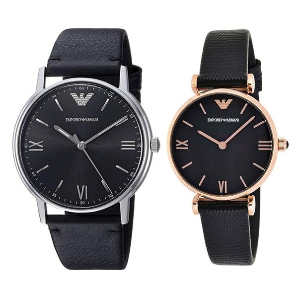 エンポリオアルマーニ 時計 メンズ レディース ペアウォッチ 腕時計 カッパ ジアンニティーバー 41mm 32mm ブラック レザー AR11013AR11060 ブランド カップル 男女 ペアセット 誕生日 お祝い プレゼント ギフト