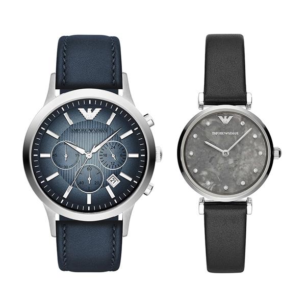 エンポリオアルマーニ 時計 メンズ レディース ペアウォッチ 腕時計 クラシック/ジアンニティーバー ネイビー ブラック レザー AR2473AR11171 ブランド カップル 男女 ペアセット 誕生日 お祝い プレゼント ギフト