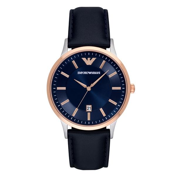 エンポリオアルマーニ メンズ 腕時計 レナト ダークネイビー 大人色 スーツに似合う レザー AR11188 ビジネス 男性 ブランド 時計 誕生日 お祝い プレゼント ギフト お洒落