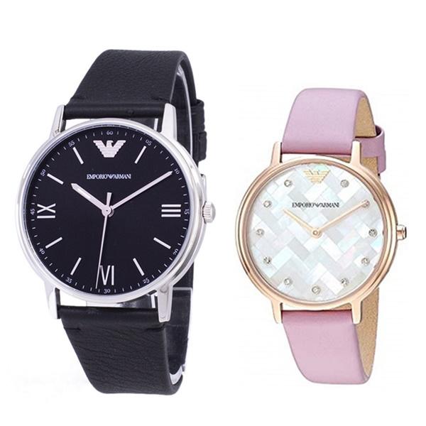 【ペア収納BOX付き】エンポリオアルマーニ ペアウォッチ 腕時計 セット カッパ ブラック ピンク 革 レザー AR11013AR11130 ブランド カップル 男女 ペアセット【仕事用】 誕生日 お祝い プレゼント ギフト お洒落