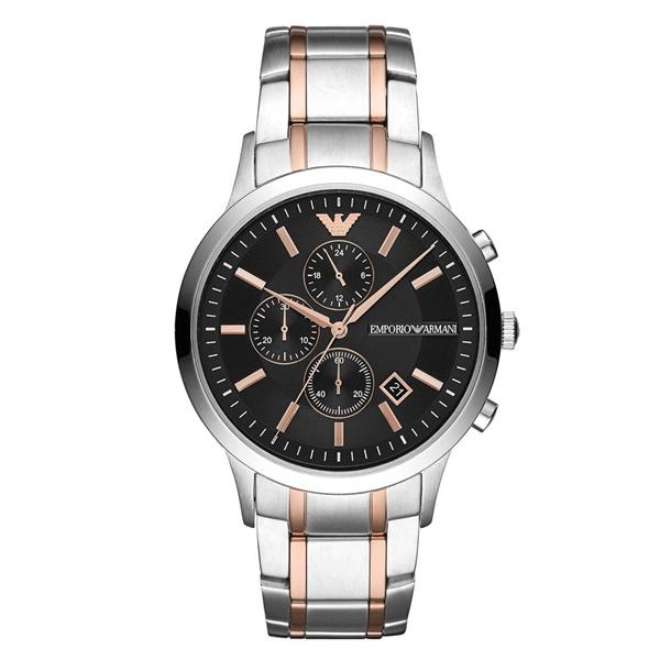 エンポリオアルマーニ 時計 メンズ 腕時計 Renato レナート クロノグラフ 黒文字盤 ブラック ローズゴールド シルバー ステンレス AR11165 ビジネス 男性 ブランド 時計 誕生日 お祝い プレゼント ギフト
