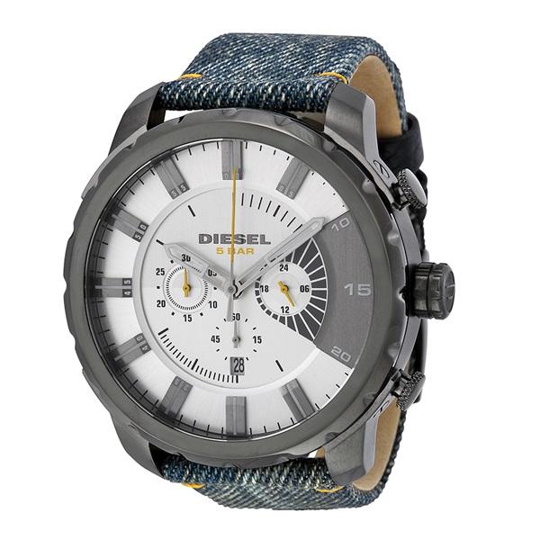 【キャッシュレス5%還元】ディーゼル 時計 メンズ 腕時計 ストロングホールド クロノグラフ デイカレンダー シルバー イエロー ブルー デニム DZ4345 ビジネス 男性 ブランド 誕生日 お祝い プレゼント ギフト