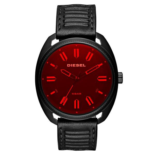 ディーゼル 時計 メンズ レディース ユニセックス 腕時計 Fastbak 45mm レッド×ブラック ブラックレザー DZ1837 ビジネス 男性 ブランド 【仕事用】 誕生日 お祝い プレゼント ギフト お洒落