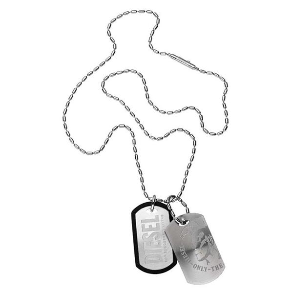 ディーゼル ジュエリー ファッション アクセサリー NECKLACE ネックレス ペンダント プレート シルバー ブラック ステンレス ラバー DX0011040 ビジネス 男女 ブランド 誕生日 お祝い プレゼント ギフト お洒落