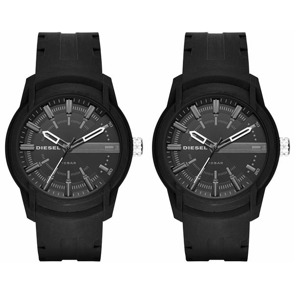 ディーゼル 腕時計 ペアウォッチ シェア 同じサイズセット ARMBAR アームバー 黒 オールブラック シリコン DZ1830DZ1830 ブランド カップル 男女 ペアセット【仕事用】 誕生日 お祝い プレゼント ギフト お洒落