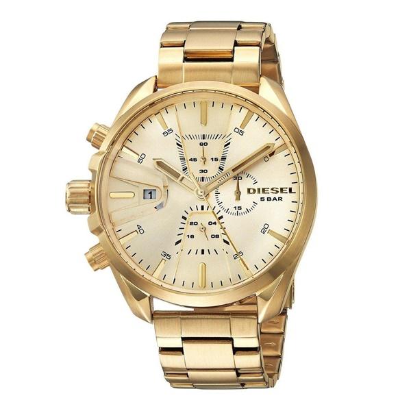 ディーゼル 時計 メンズ 腕時計 MS9 ビックケース 大きいとけい クロノグラフ ゴールド ステンレス DZ4475 ビジネス 男性 ブランド 誕生日 お祝い プレゼント ギフト