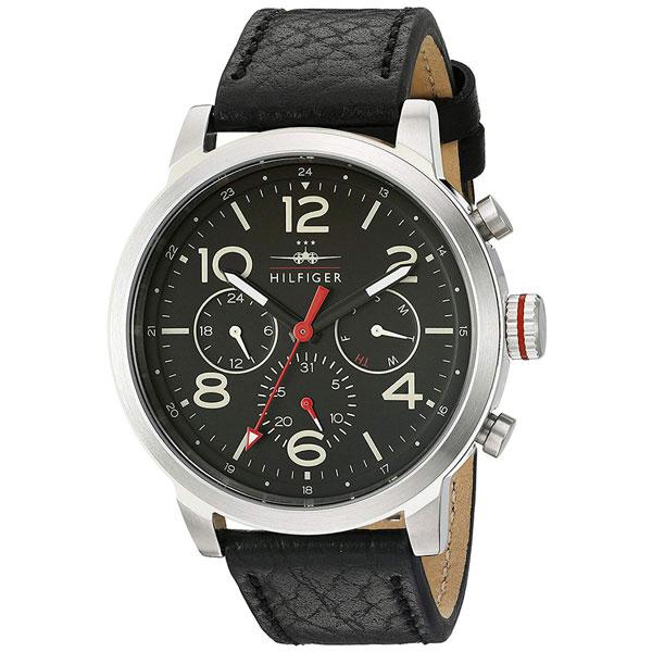 トミーヒルフィガー 腕時計 メンズ JAKE マルチファンクション 46mm シルバーケース ブラック レザー 1791232 ビジネス 男性 ブランド 時計 誕生日 お祝い プレゼント ギフト お洒落