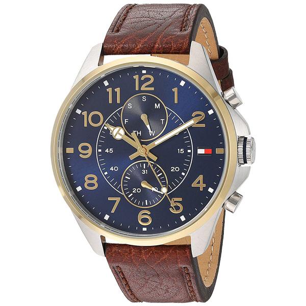 トミーヒルフィガー 腕時計 メンズ DEAN マルチファンクション 46mm ネイビー文字盤 ブラウン レザー 1791275 ビジネス 男性 ブランド 時計 誕生日 お祝い プレゼント ギフト お洒落