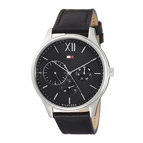 トミーヒルフィガー 時計 メンズ 腕時計 DAMON 44mm 黒文字盤 ブラックレザー 革ベルト スーツ 仕事用 1791417 ビジネス 男性 ブランド 時計 誕生日 お祝い プレゼント ギフト お洒落